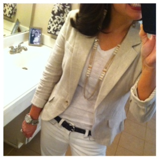 linen blazer with white 3