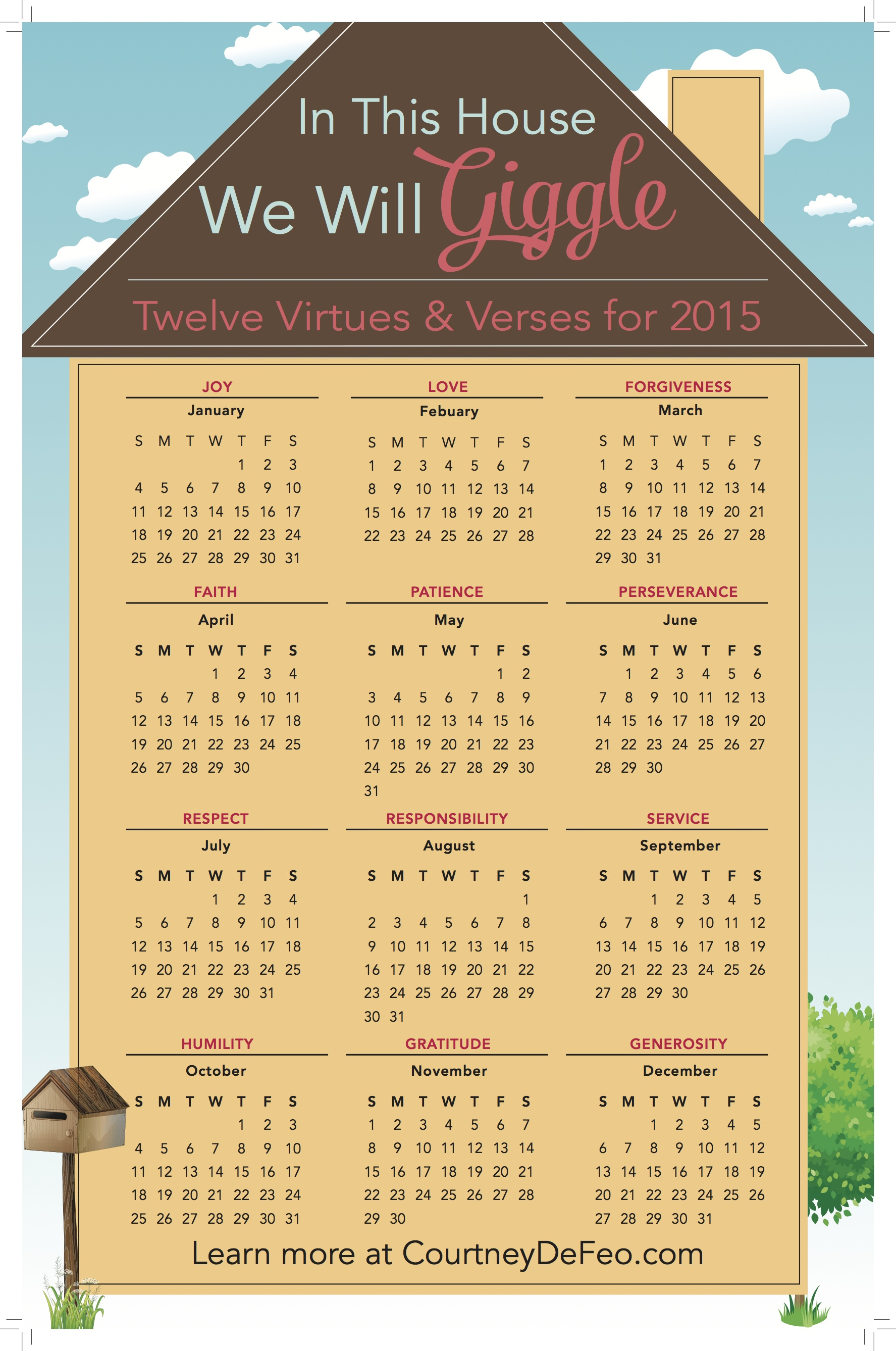 12 Virtues in this house, we will giggle - launch day giveaway