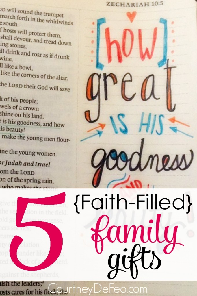 5 Faith-Filled Family Gifts - Great ideas for giving a gift with purpose and meaning. These gift ideas will help your family remember what is important in life. Gifts with a purpose.